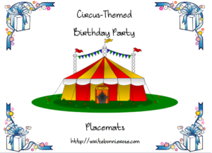 Circus Birthday Placemats Cover