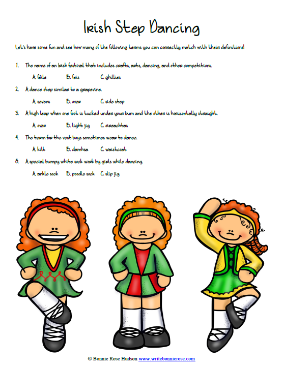 Timeline Worksheet: March 17, 1762, Irish Step Dancing Vocabulary ...