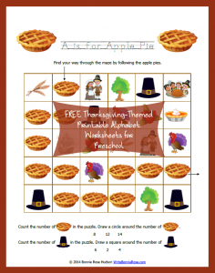 FREE Thanksgiving-Themed Printable Alphabet Worksheets for Preschool