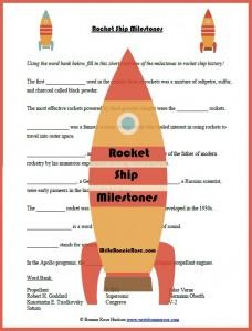 Rocket Ship Milestones Fill In