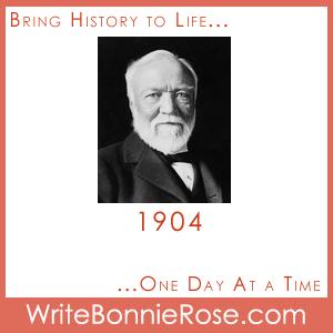 Timeline worksheet, 1904, Andrew Carnegie Copywork