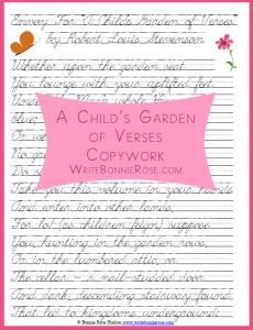 a childs garden of verses copywork 3 styles - A Childs Garden Of Verses