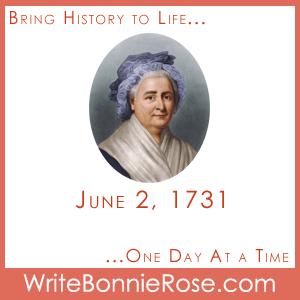 Timeline worksheet June 2, 1731, Martha Washington