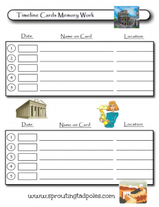 Timeline Cards by Sprouting Tadpoles Memory Work