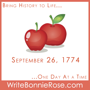 Timeline worksheet September 26, 1774 Johnny Appleseed activity