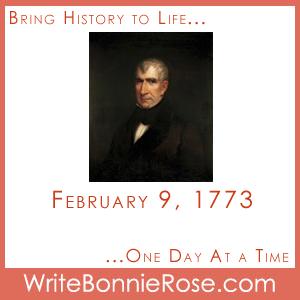 Timeline Worksheet February 9, 1773, William Henry Harrison Presidential Copywork