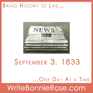 Timeline Worksheet September 3, 1833, Benjamin Day Newspaper