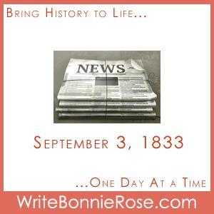 Timeline Worksheet September 3, 1833, Benjamin Day Newspaper