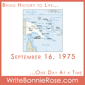 Timeline Worksheet September 16, 1975, Papua New Guinea Independence Day