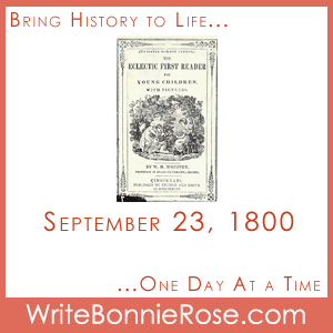 Timeline Worksheet: September 23, 1800, McGuffey Reader Copywork