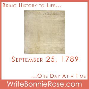Timeline Worksheet, September 25, 1789, Bill of Rights Quiz