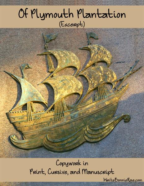 American History Through Copywork-Of Plymouth Plantation