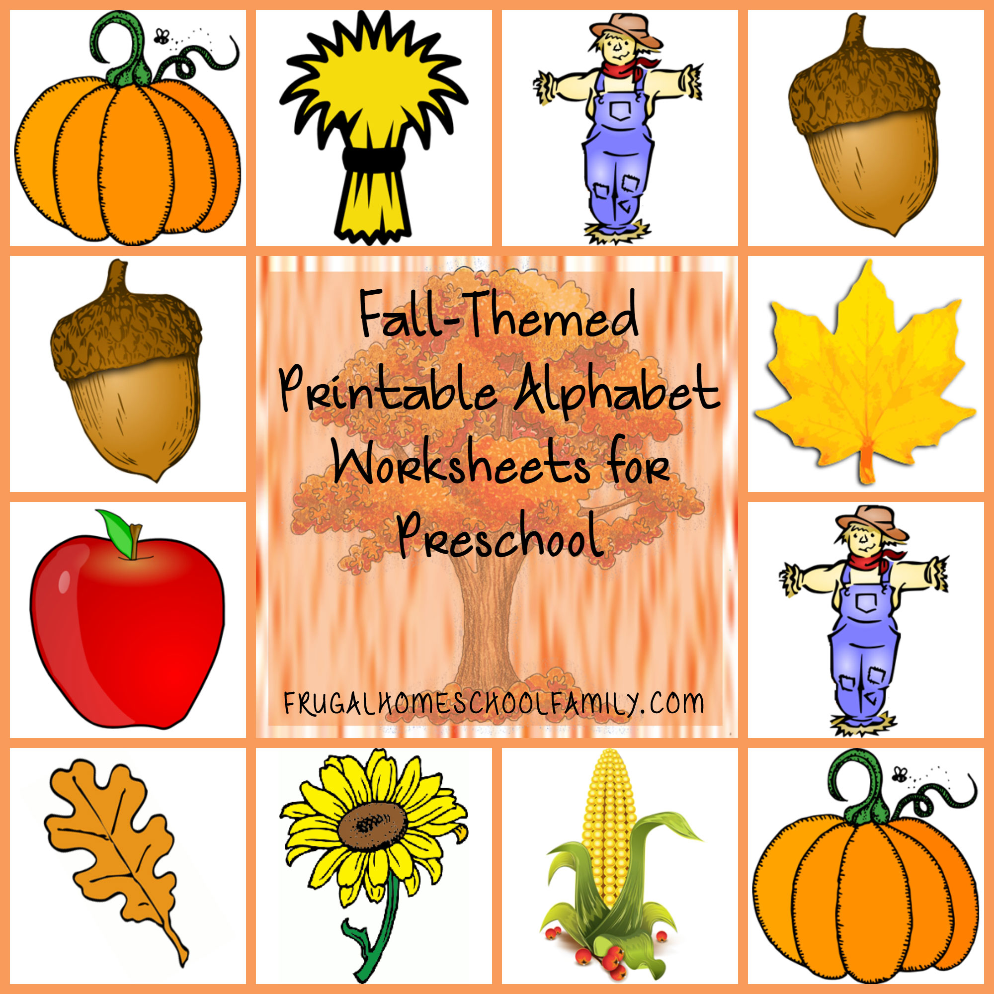 Alphabet Worksheets for Preschool with a Fall Theme ...