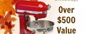 Inspired Bloggers Thanksgiving Giveaway-Win a KitchenAid Professional 5-Quart Stand Mixer, Empire Red and a $100 Walmart Gift Card. Giveaway ends 11/2/14.
