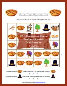 FREE Thanksgiving-Themed Printable Alphabet Worksheets for Preschool