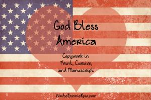 God Bless America Copywork Freebie