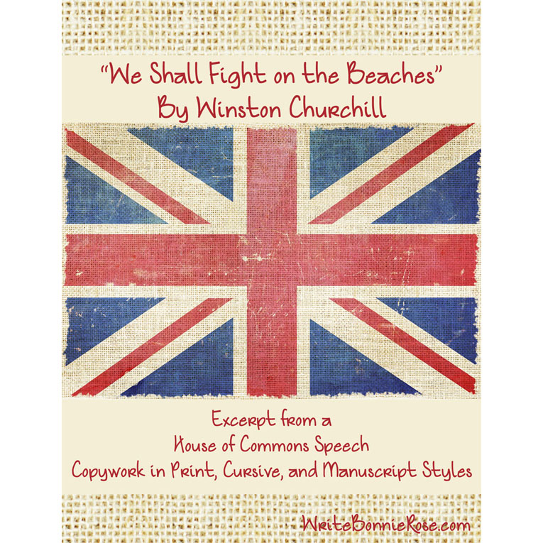 We Shall Fight on the Beaches by Winston Churchill (Excerpt)-Copywork (e-book)