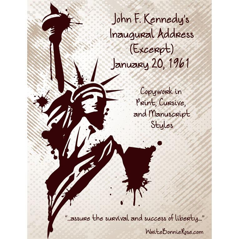 John F. Kennedy's Inaugural Address (Excerpt), January 20, 1961-Copywork (e-book)
