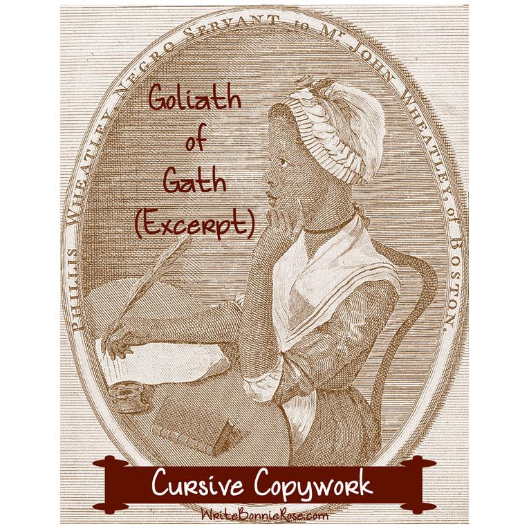 Goliath of Gath by Phillis Wheatley (Excerpt)-Cursive Copywork (e-book)