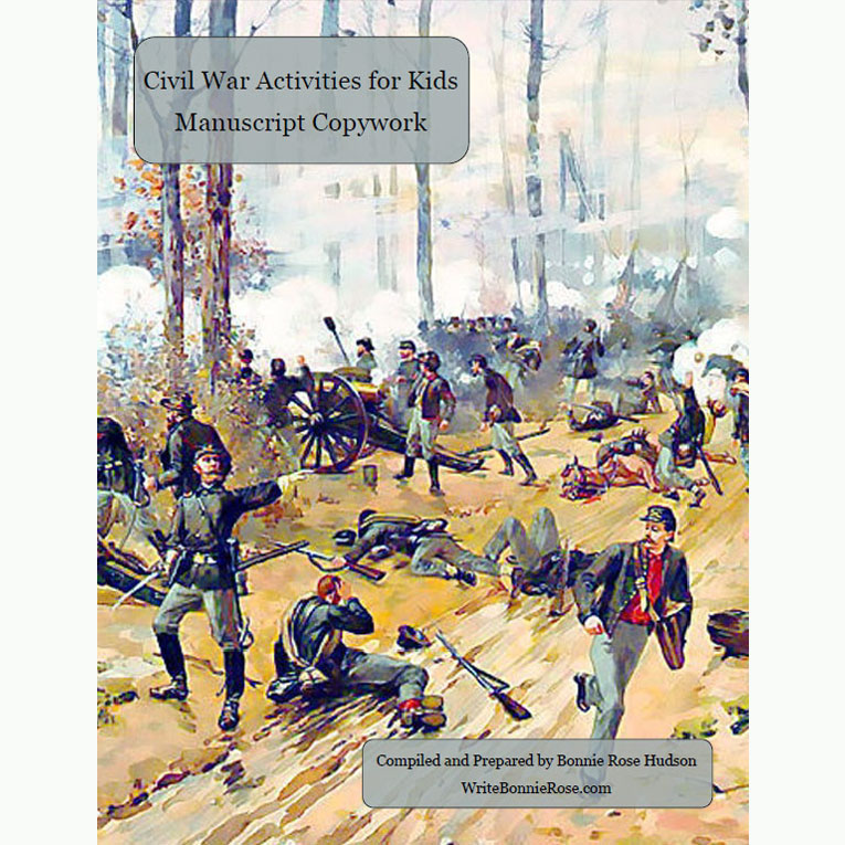 Civil War Activities for Kids: Manuscript Copywork (e-book)