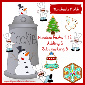 Munchable Math-Christmas Cookies Math Practice Worksheets for Lower Elementary