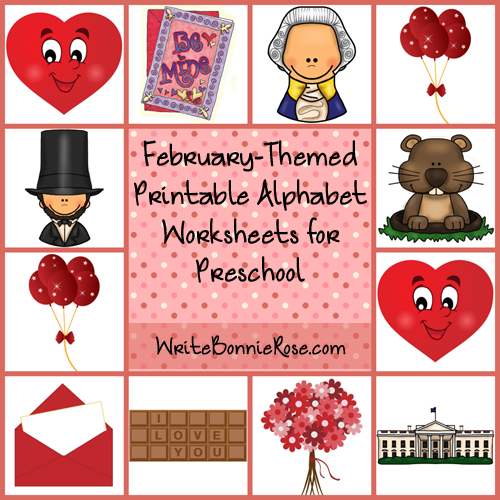 February-Themed Printable Alphabet Worksheets for Preschool