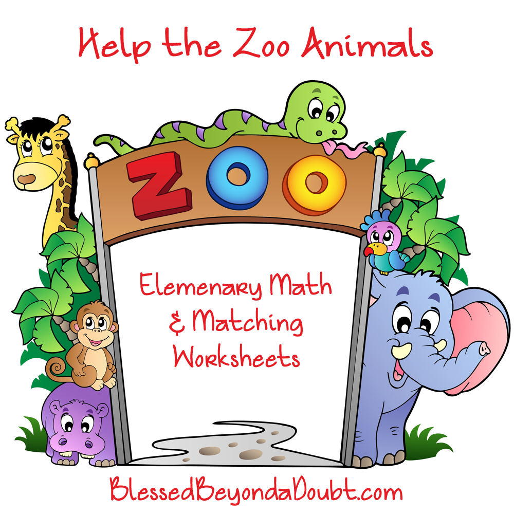 Free Elementary Math Worksheets-Help the Zoo Animals
