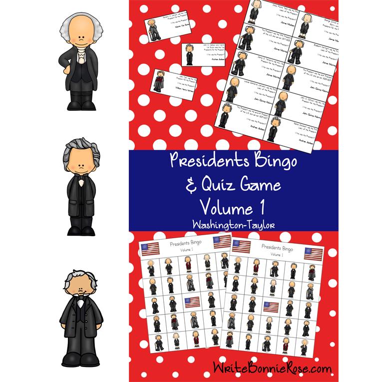 U.S. Presidents Bingo and Quiz Game, Volume 1 (e-book)