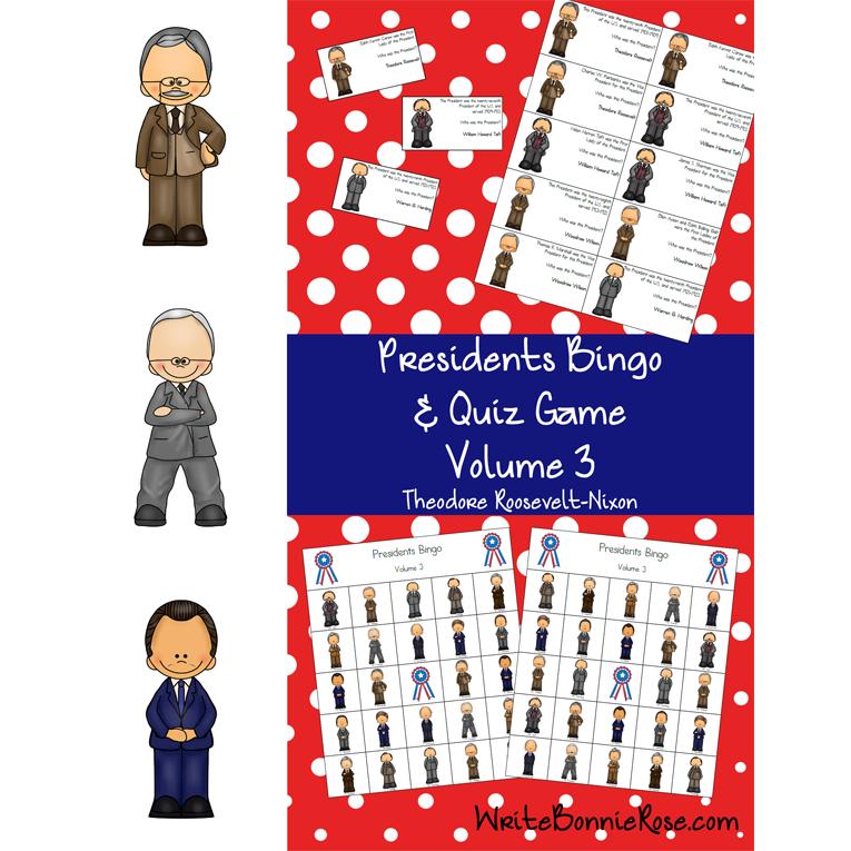 U.S. Presidents Bingo and Quiz Game, Volume 3 (e-book)