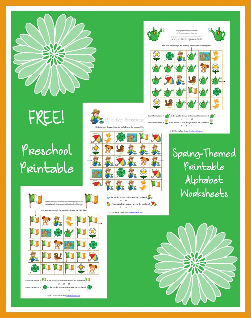 Spring-Themed Printable Alphabet Worksheets for Preschool