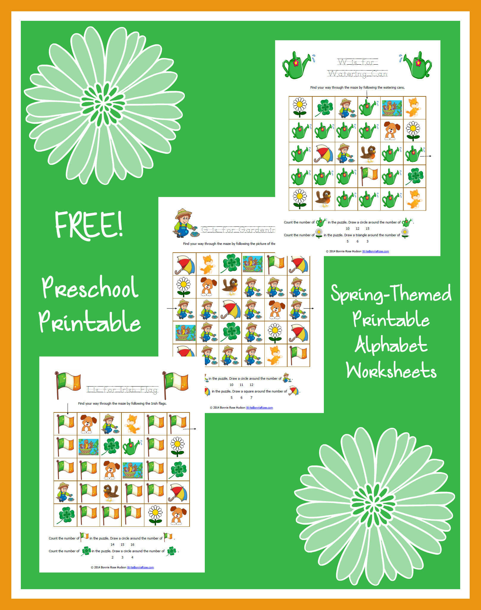 FREE Spring-Themed Printable Alphabet Worksheets for Preschool