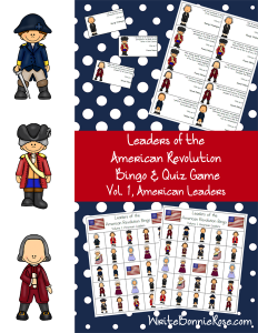 Leaders of the American Revolution Bingo & Quiz Game Volume 1