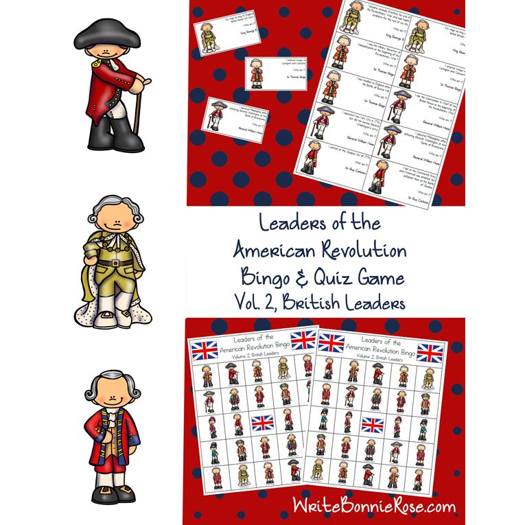 Leaders of the American Revolution Bingo Volume 2, British Leaders (e-book)