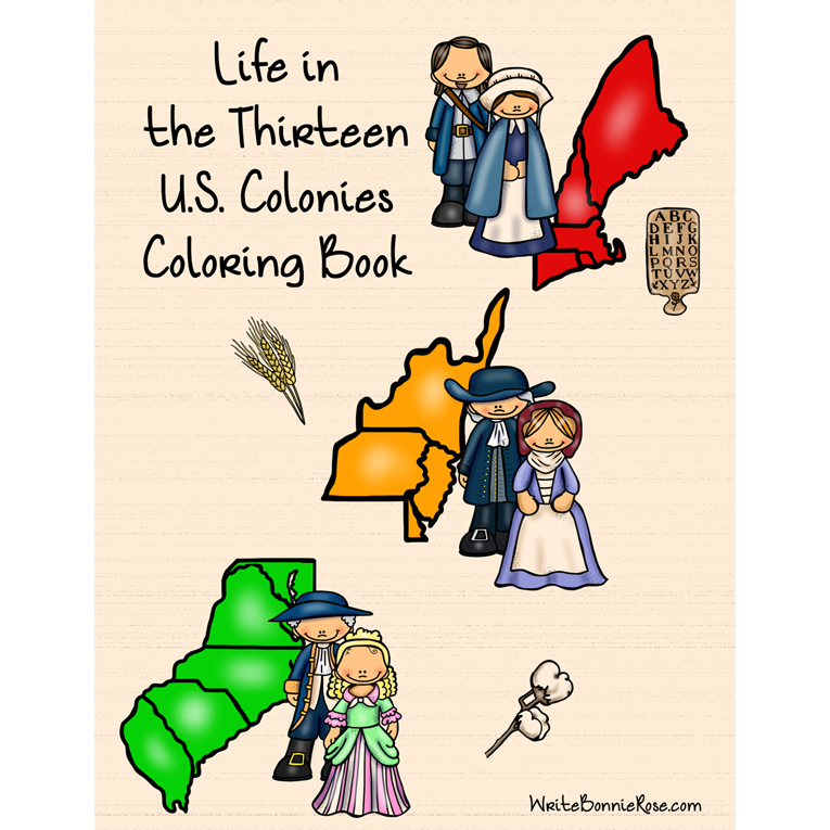 Life in the Thirteen U.S. Colonies Coloring Book (e-book)