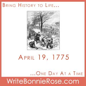 Timeline Worksheet April 19, 1775, Lexington and Concord Copywork