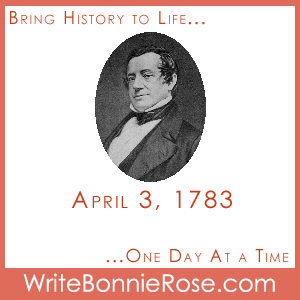 Timeline Worksheet, April 3, 1783, Washington Irving Notebooking and Timeline