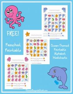 FREE Ocean-Themed Printable Alphabet Worksheets for Preschool