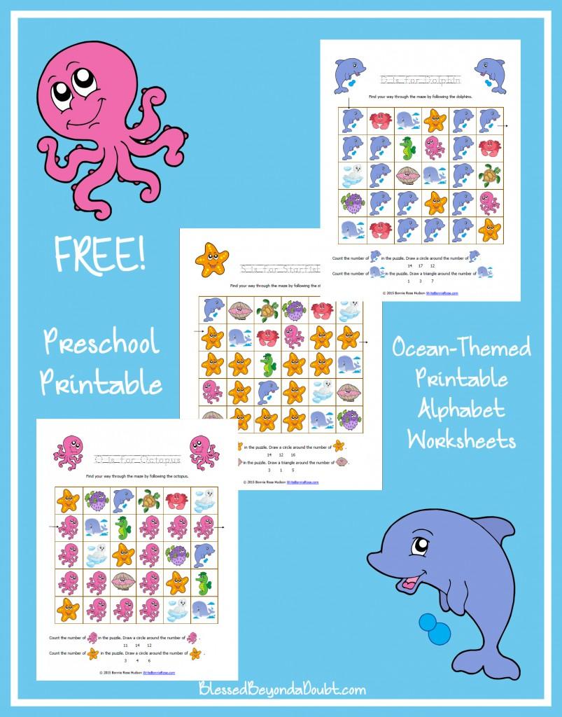 Ocean Life-Themed Preschool Letter Pack