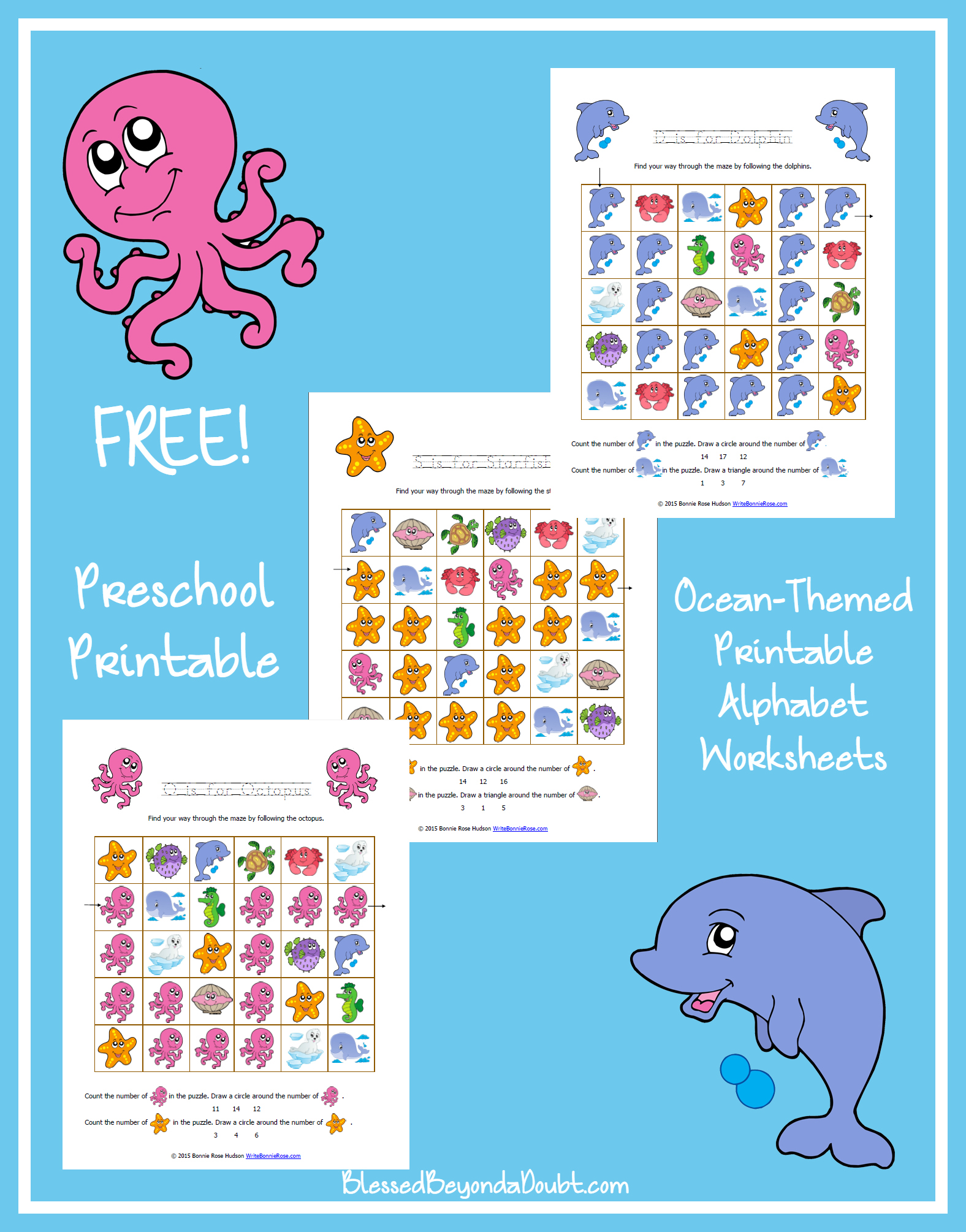 FREE Ocean-Themed Printable Alphabet Worksheets for Preschool