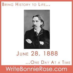Timeline Worksheet, June 28, 1888, Robert Louis Stevenson Copywork