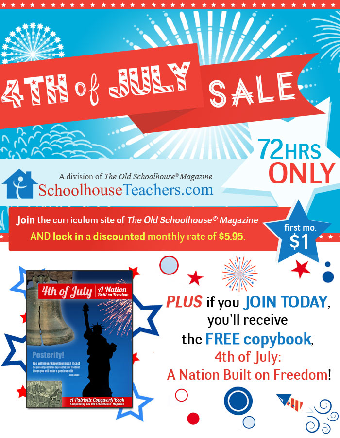4th of July Flash Sale at Schoolhouse Teachers - 3 days only