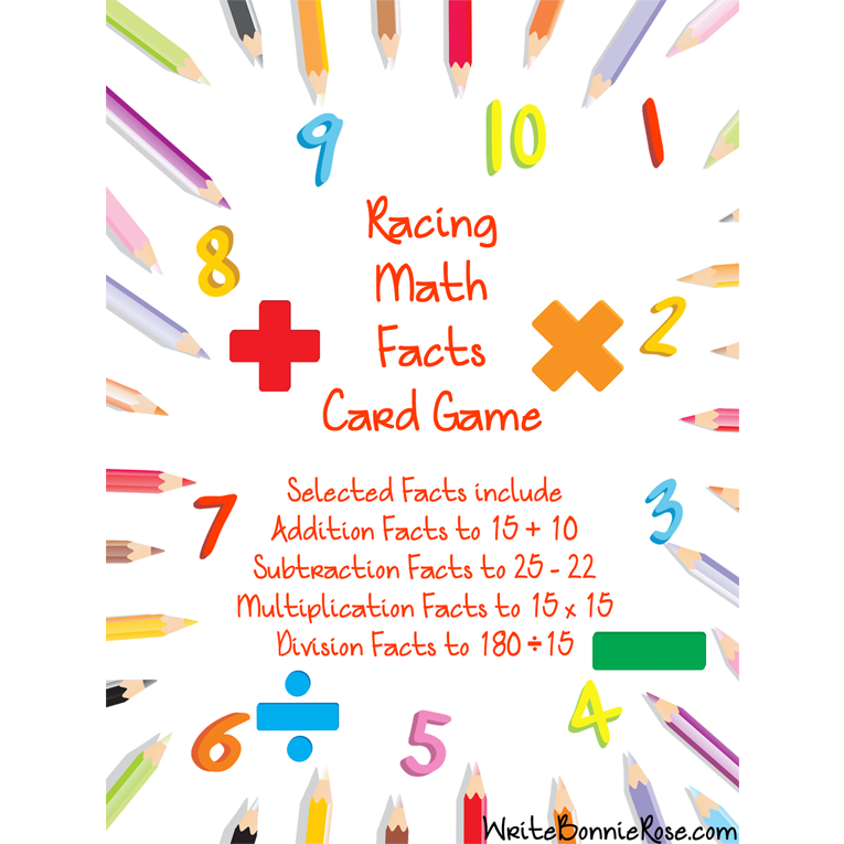 Racing Math Facts Printable Card Game (e-book)
