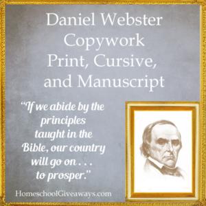 FREE Daniel Webster Copywork