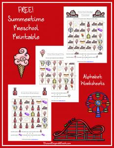 Summertime Printable Alphabet Worksheets for Preschool