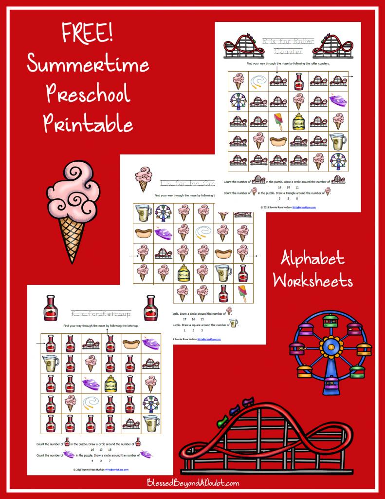 Summer Themed Worksheets: Summertime Printable Alphabet Worksheets For Preschool
