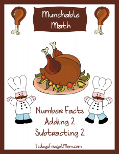 Free Elementary Math Worksheets-Munchable Math Turkeys