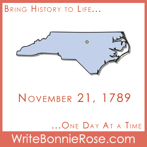 Timeline Worksheet, November 21, 1789, North Carolina Worksheet