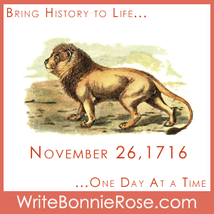 Timeline Worksheet, November 26, 1716 Lion Trivia and Writing Prompts