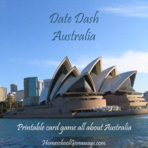 Date Dash Australia Printable Card Game