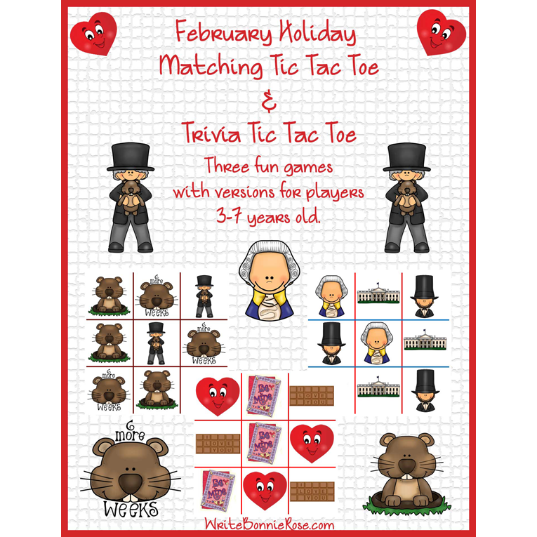 February Holiday Matching Tic Tac Toe and Trivia Tic Tac Toe (e-book)